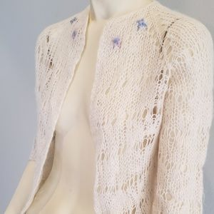 Sweaters - soft acrylic open weave cropped cardigan 1960's M
